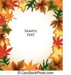 秋季树叶, 框架, 背景。, 矢量