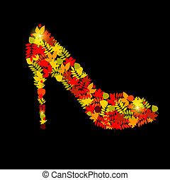 秋季树叶, 矢量, 鞋子, 描述