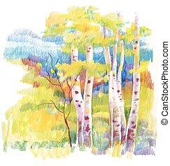 秋季森林, 氈制粗頭筆, illustration.
