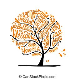 秋季, 你, 树, 设计