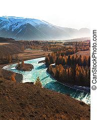 秋季, 山, 带, 湖, 察看, 同时,, 色彩丰富的叶子, 在中, forest.