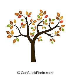 秋季, 形状, 矢量, illustration., 树。