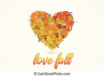 秋季, 心形状, 爱, 标识语