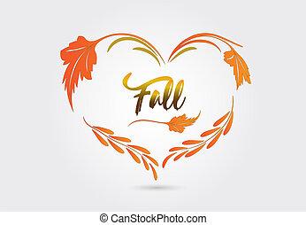 秋季, 心形状, 矢量, 落下