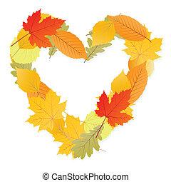 秋季, 心, 矢量, 叶子, 背景