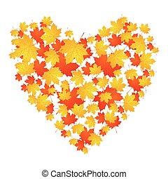 秋季, 心, 离开, 概念, 枫树