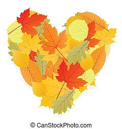 秋季, 心, 离开, 矢量, 背景
