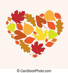 秋季, 心, 符号, 爱, 形式