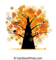 秋季, 树, 叶子, 枫树, 落下
