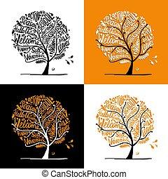 秋季, 树, 设计, 你