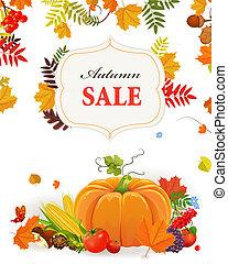 秋季, 海报, 设计, 你