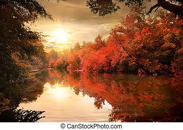 秋季, 结束, 河, 日落
