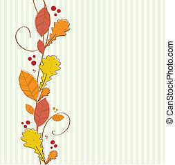 秋季, 背景。, 边界, seamless, 垂直