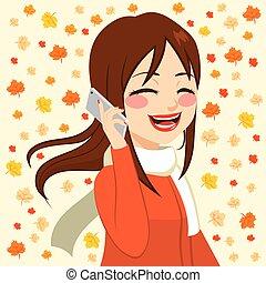 秋季, smartphone, 女孩