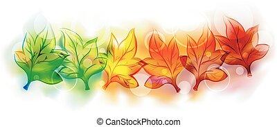 秋色, 葉, 変化, イラスト