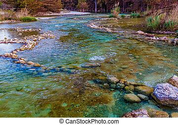 秋葉っぱ, 上に, ∥, 水晶のゆとり, frio, 川, 中に, texas.