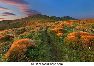 秋風景, 山。, 日の出, カラフルである