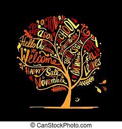秋, あなたの, 木, デザイン