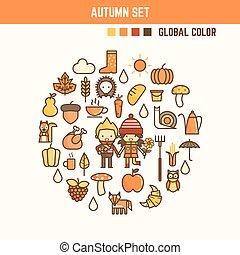 秋, そして, 秋, infographic, 要素