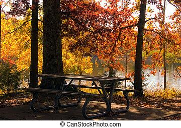 秋, によって, ∥, 湖