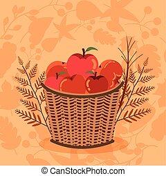秋, りんご, 季節, バスケット, アイコン