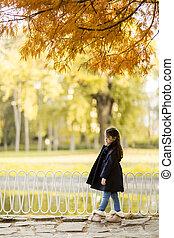 秋, わずかしか, 公園, 女の子