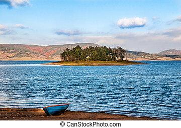 秋, アイランドレーキレッド, 風景, ボート