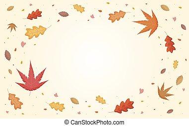 秋, イラスト, 葉, 落ちる, コピー, ベクトル, スペース
