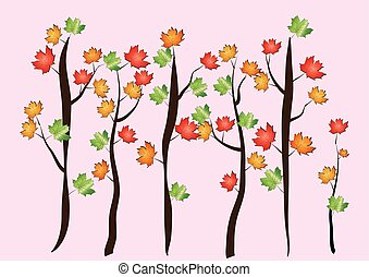 秋, カエデの木, -, ベクトル