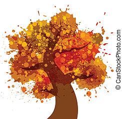 秋, グランジ, 木, アイコン