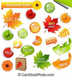 秋, コレクション, セール, 要素