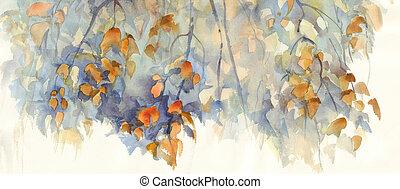 秋, シラカバ, ブランチ, ∥で∥, 葉, 水彩画, 背景