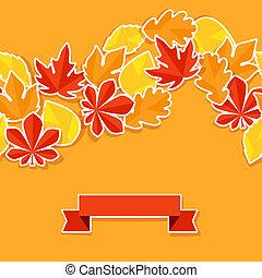 秋, ステッカー, leaves., 背景