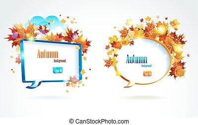 秋, スピーチ, 葉, 泡