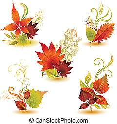秋, セット, カラフルである, leafs
