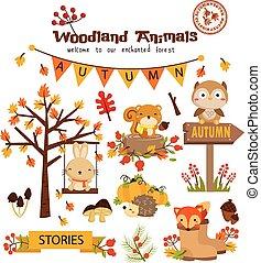 秋, セット, 森林地帯, 動物, ベクトル