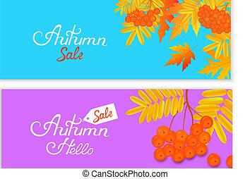 秋, セール, 背景, ∥で∥, 落ち葉, そして, ナナカマド, berries., 手, inscription.