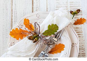 秋, テーブルの 設定