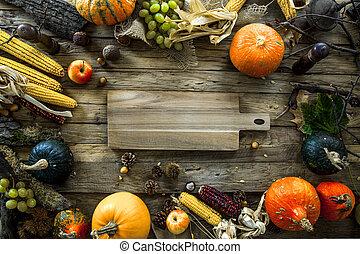 秋, テーブル, 夕食, setting., 感謝祭
