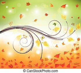 秋, デザイン, 花, 背景