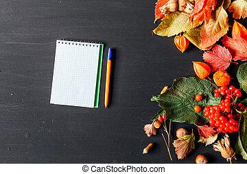 秋, ノート, 赤, ペン, 葉, 背景