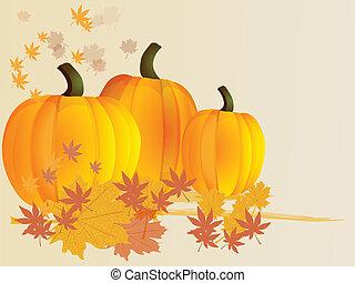 秋, バックグラウンド。, カボチャ, leaves., vector.