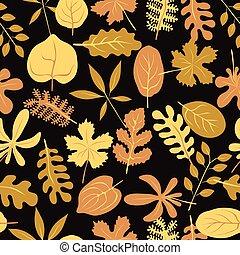 秋, パターン, ベクトル, seamless, leaves.