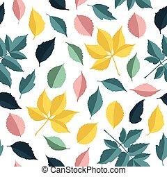 秋, パターン, 葉, ベクトル, seamless