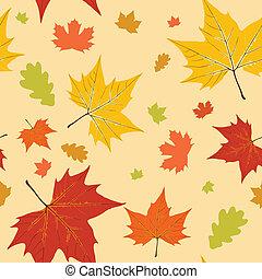 秋, パターン, 葉, seamless