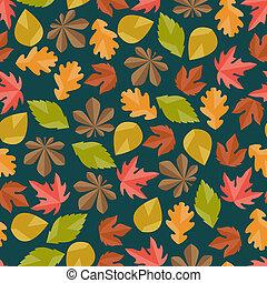 秋, パターン, seamless, leaves.