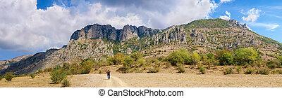 秋, パノラマ, 山, 崖, 斜面, 岩が多い