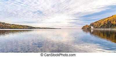 秋, パノラマ, 雲, 湖, 反射
