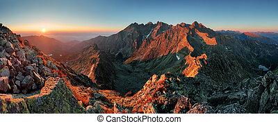 秋, パノラマ, 風景, 山