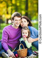 秋, ピクニック, 持つこと, 家族
